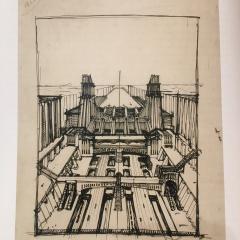 © Pinacoteca Civica di Como, Antonio Sant'Elia, Stazione d'aereoplani e treni con funicolarie ascensori su tre piani stradali, 1914